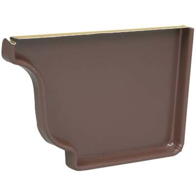 Spectra Metals 5 In. Aluminum Brown Right Gutter End Cap