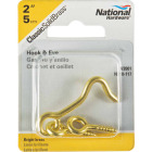National Solid Brass 2 In. Hook & Eye Bolt Image 2