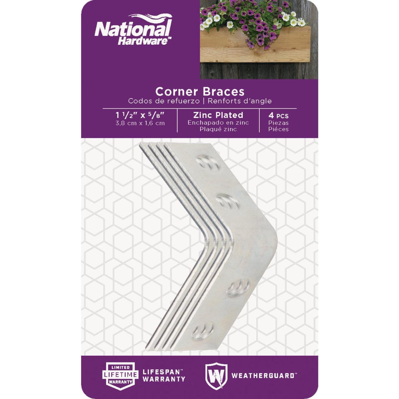 National Catalog V115 1-1/2 In. x 5/8 In. Zinc Steel Corner Brace (4-Count) Image 2